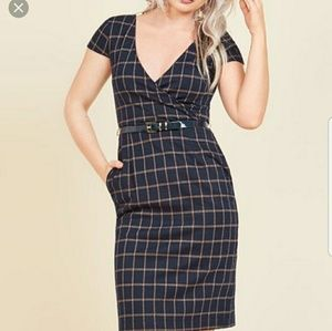ModCloth Navy Plaid Sheath Dress
